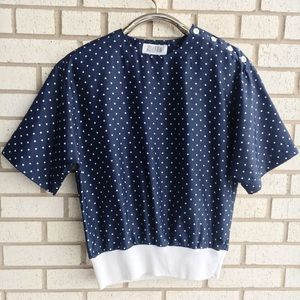 Vintage 80s Polka Dot Blouse Button Navy White 6